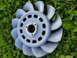 metal fan painted in RAL-7001-colour