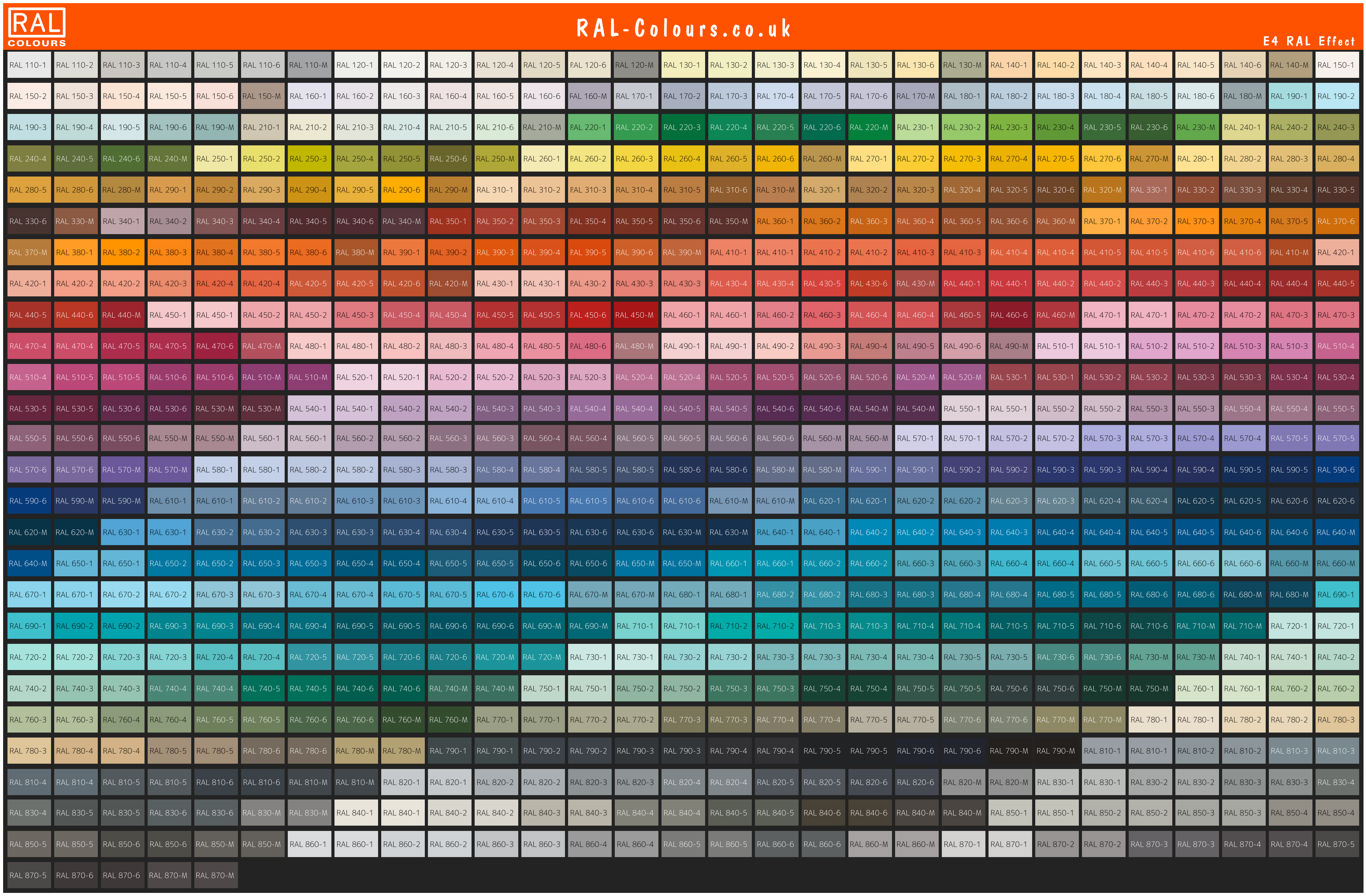 RAL Effect Colour chart